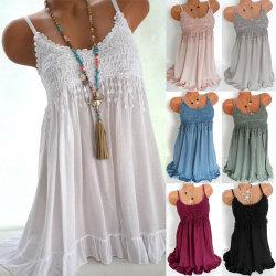 Ärmlös klänning för damer U-ringad, kort strandklänning för sommar black 5XL