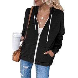 Ladies dammodell Causal Hoodie Zip Up Hooded Jacket