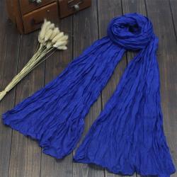Damens bomulls- och linneshalsduk elegant sjal mode trendig halsduk Royal blue
