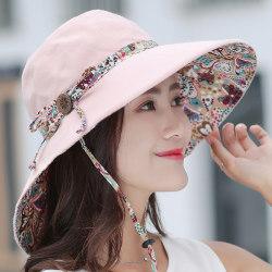 Damens mode träspänne solskydd stor kant Pink