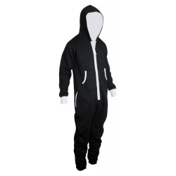 Mäns och kvinnors pyjamas för sportkläder med dragkedja med huva Svart L