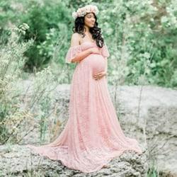 Moderskap off-shoulder ruffled ärm klänning klänning pink M