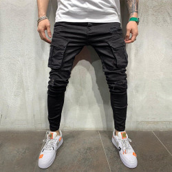Men Casual Pants Trousers Jeans Jogging Running Sports Bottoms Black M
