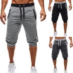 Mäns casual shorts 3/4 Jogger Capri byxor knäshorts Dark gray L