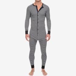 Mens Printed One Piece Jumpsuit Nightwear Pyjamas med lång ärm