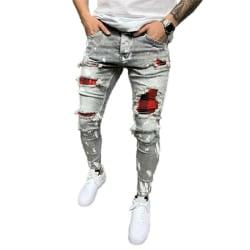 Mens Skinny Ripped Jeans Stretch Denim Pants Slim Fit Byxor