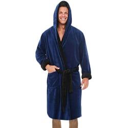 Mjuk mantel för mäns mantellbadrock vinterhusrock pyjamas Marinblå svart 3XL