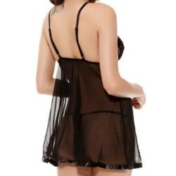 Plus Size kvinnor sexiga underkläder Babydoll Mini klänning underkläder Black 5XL