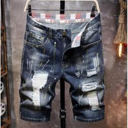 Rippade jeansshorts för män lösa fempunktsbyxor avslappnade män #4 36