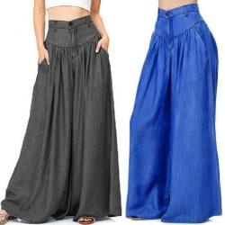 Byxor för kvinnor med vida ben, avslappnade byxor med hög midja svart 2XL