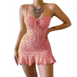Sexig blommig sele bröst ihålig klänning pink 4XL