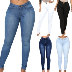 Slim ladies jeans with a high waist and jeans with straight legs dark blue M