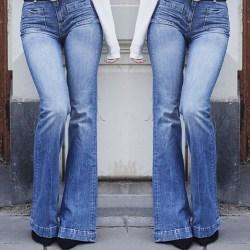 Smala flared jeans för damer, fashionabla jeans med hög midja blå L