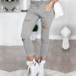 Smala jeans för kvinnor med hög stretch, rippade 9-punktsbyxor grå S