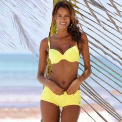 Sommar mode kvinnor enfärgad delad bikini kostym sexig badkläder Gul L