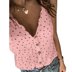 Rem V-ringad knapp T-shirt Tank Tops - Rem V-ringad knapp T-shi Pink S