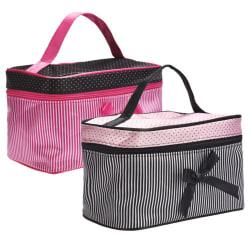 Randig polka dot kosmetisk väska resekosmetisk förvaringsväska black