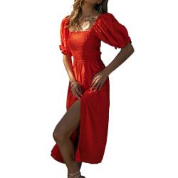 Sommarklänning för kvinnor med fyrfärgad kjol med en hals red L