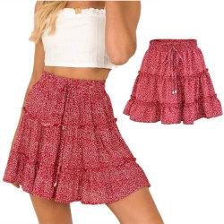 Sommar dam hög midja ruffle blommig strand A-line kjol red dot XL
