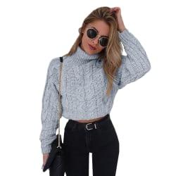 Tjock tråd trådad tröja med hög hals gray L