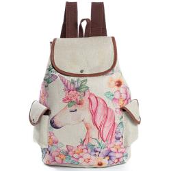 Unicorn-tryckt ryggsäck i linne Stor skolväska för mode