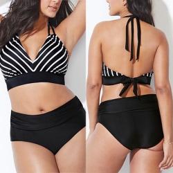 Woman's Fashion Sexy Striped Split Beach Swimsuit Set stripe 2XL
