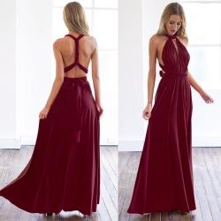 Kvinnor Sexig Solic Color Backless Long Dress Summer beach dress red wine M