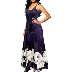 Kvinnors eleganta pendlande smala sexiga blommigtryckta långa klänning purple M