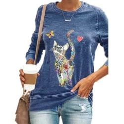 Kvinnors djurtryckta långärmade toppar Damer avslappnad T-shirt