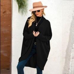 Kvinnor Batwing Långärmad kofta Casual Solid vinterjacka Black 2XL