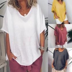 Kvinnor Casual enfärgad lös T-shirt - Kvinnor Casual enfärgad gray XL