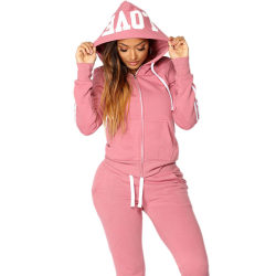 Women Casual Tracksuit Hoodies Set Pink S