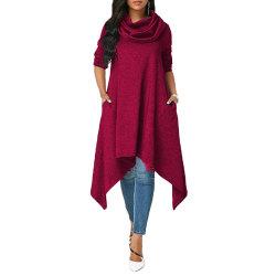 Hoodie för kvinnor Irregular Baggy Hooded Jumper Oversized Pullover