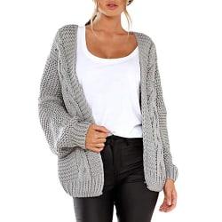 Kvinnor Lady Långärmad tröja Cardigan Solid jacka Top Outwear Light Grey S