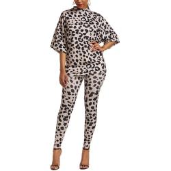 Women Leopard Print Casual Suit Two-piece Stretch Fitness Pants Leopard M