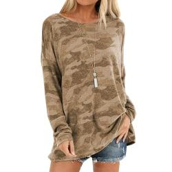 Kvinnors långärmade kamouflage toppar lös tröja T-shirtblus Purple M
