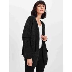 Kvinnor långärmad kappa överrock löst kofta jacka utkläder