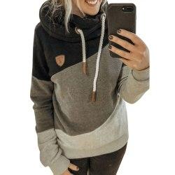 Kvinnor löst långärmad Casual Hooded Casual , Pullover T-shirt Black 2XL