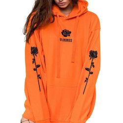 Women plus velvet rose flower print sweater street style sweater orange 3XL