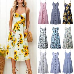 Kvinnors långa klänning med knapptryck söt liten ny stilklänning dark blue+fine stripes XL