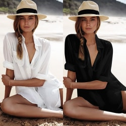 Women's button shirt long sleeve swimsuit coverall loose top black one size