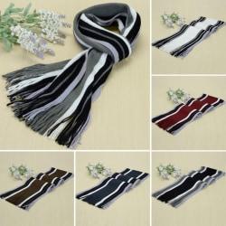 Kvinnors färgmatchande randiga halsduk sjal mode halsduk Brown