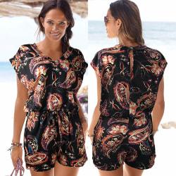 Women's Deep V Beach Jumpsuit Floral Print Fashion Jumpsuit black S
