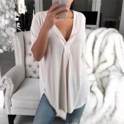 Women's Deep V Pure Color Short Sleeve Fashion Short Sleeve white M