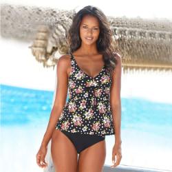 Women's Fashion Sexy Deep V Split 2 Piece Beach Swimsuit Set Black floral L