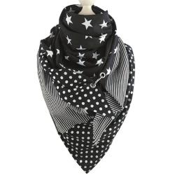 Femspetsig stjärntryckt haklappsjal för kvinnor mode halsduk