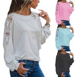 Women's Floral Top Round Neck Elegant Long Sleeve Shirt sky blue XL