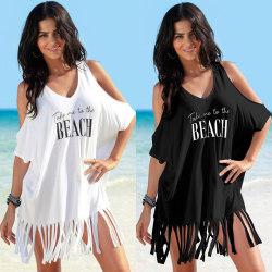Women's Fringe Off Shoulder Blouse Swimsuit Blouse Loose Top black one size