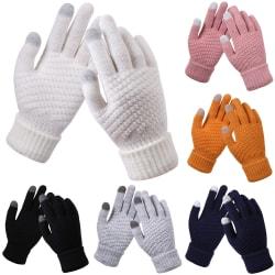 Kvinnors stickade pekskärmshandskar korta mode retrohandskar gray