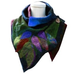 Kvinnors blad oregelbunden halsduk Elegant sjal Mode retro halsduk blue